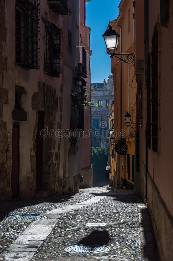 Typical streets and buildings of the famous city of Cuenca, Spain royalty free stock photography