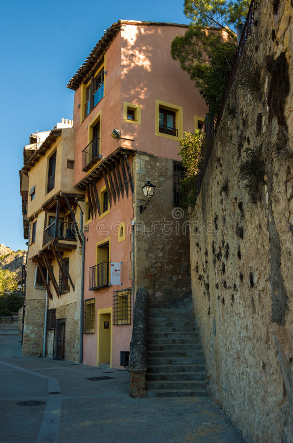 Typical streets and buildings of the famous city of Cuenca, Spain royalty free stock image