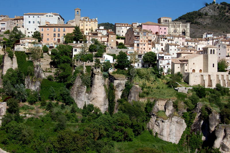 Cuenca, Spain: View of Ancient City. View to the ancient city of Cuenca, Spain with its pastel coloured buildings built atop a spectacular limestone massif with stock image