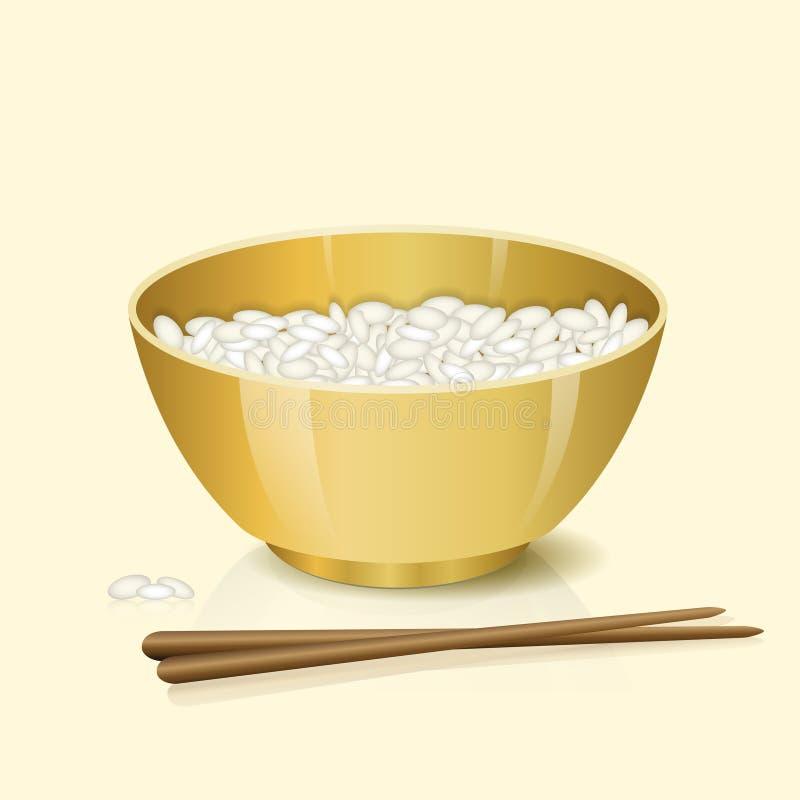 Cuenco amarillo con arroz y palillos stock de ilustración