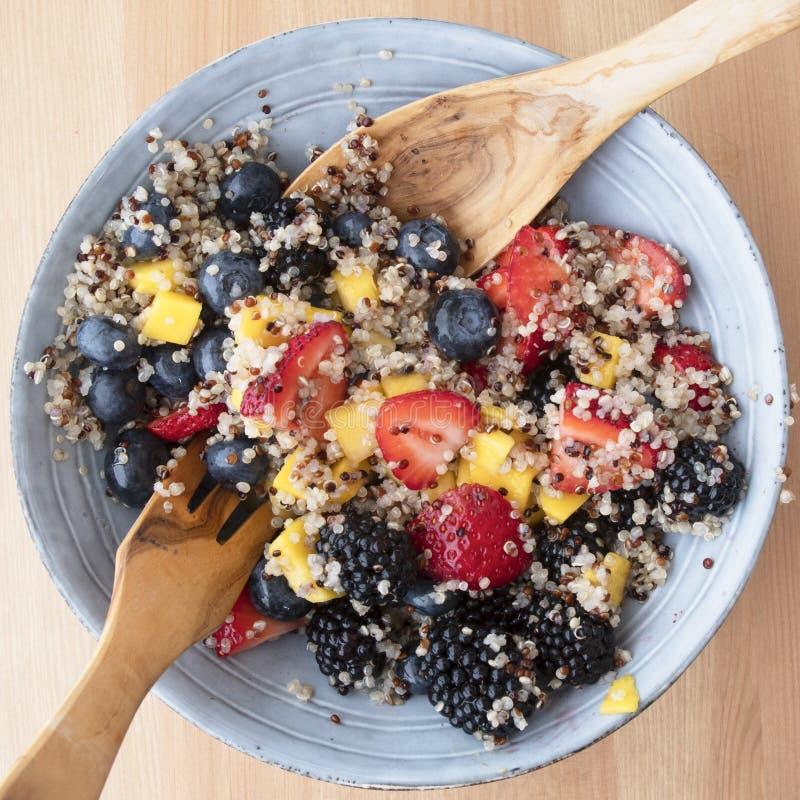 Cuenco azul con la ensalada de fruta de la quinoa imagen de archivo libre de regalías