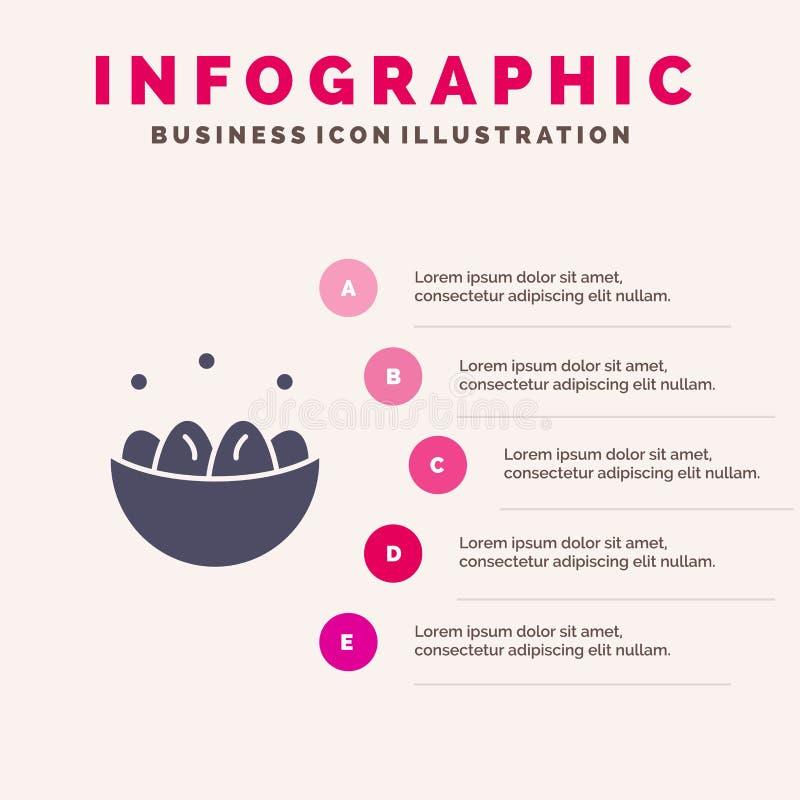 Cuenco, celebración, Pascua, huevo, fondo sólido de la presentación de los pasos de Infographics 5 del icono de la jerarquía libre illustration