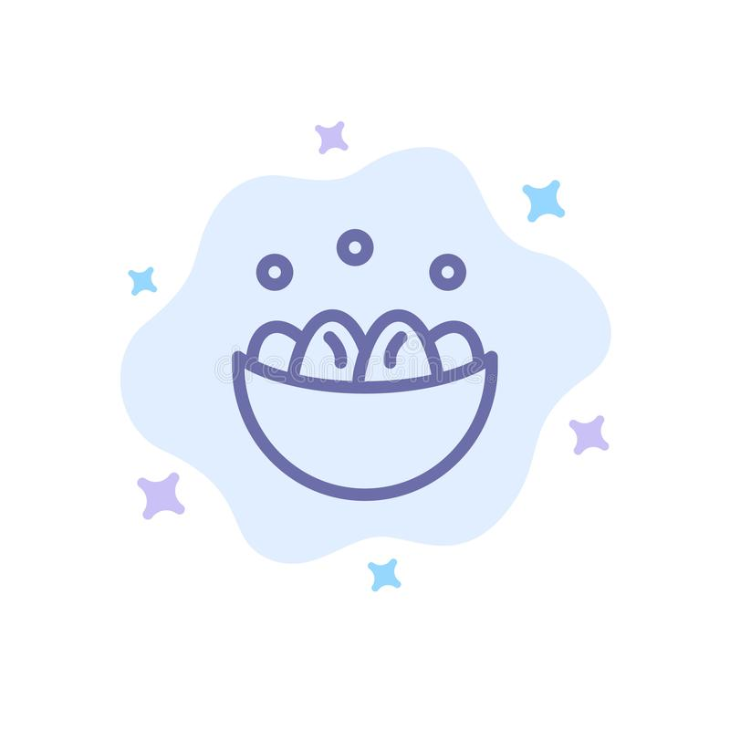 Cuenco, celebración, Pascua, huevo, icono azul de la jerarquía en fondo abstracto de la nube libre illustration