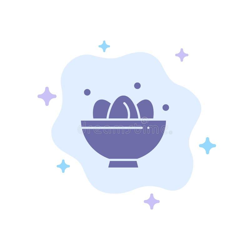 Cuenco, celebración, Pascua, huevo, icono azul de la jerarquía en fondo abstracto de la nube stock de ilustración