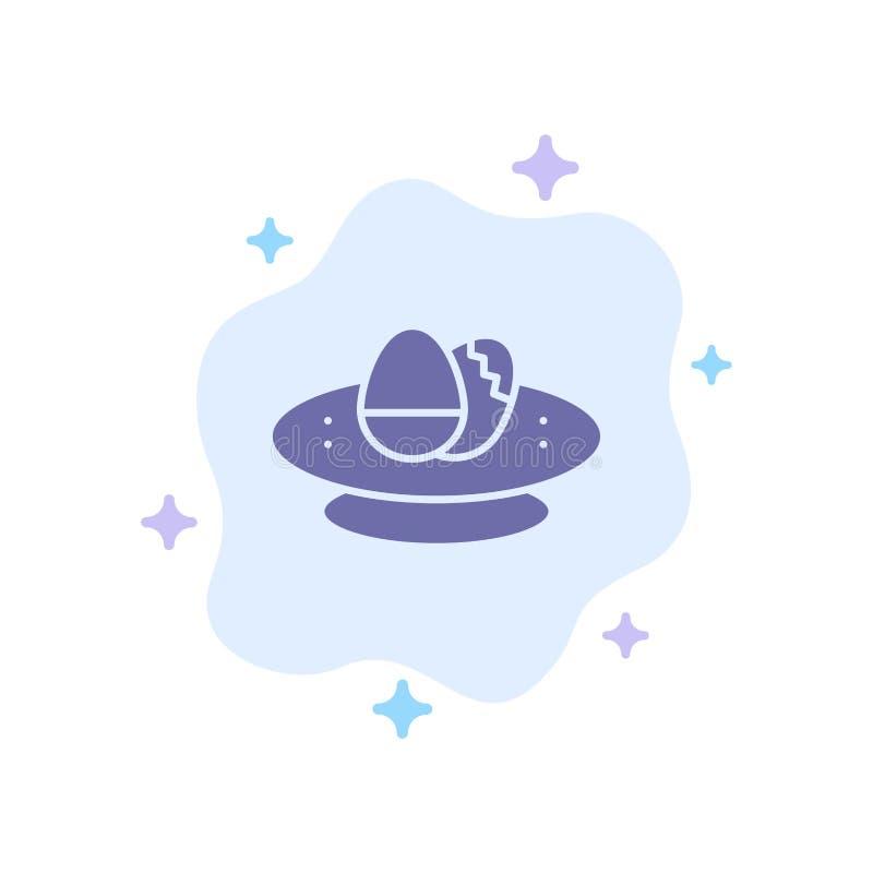 Cuenco, celebración, Pascua, huevo, icono azul de la jerarquía en fondo abstracto de la nube ilustración del vector