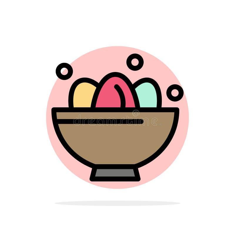 Cuenco, celebración, Pascua, huevo, icono plano del color de fondo del círculo del extracto de la jerarquía stock de ilustración