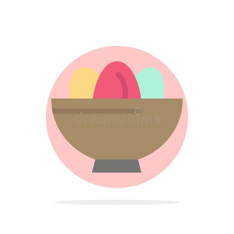 Cuenco, celebración, Pascua, huevo, icono plano del color de fondo del círculo del extracto de la jerarquía libre illustration