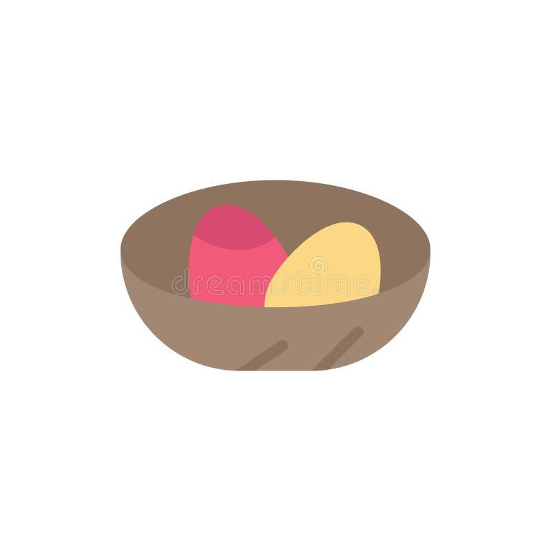 Cuenco, celebración, Pascua, huevo, icono plano del color de la jerarquía Plantilla de la bandera del icono del vector libre illustration