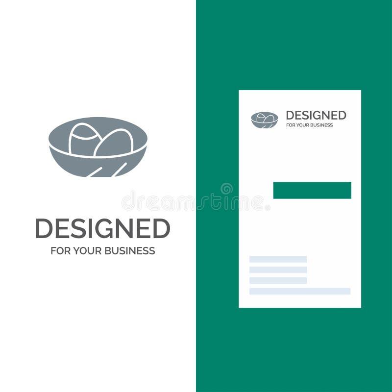Cuenco, celebración, Pascua, huevo, jerarquía Grey Logo Design y plantilla de la tarjeta de visita stock de ilustración