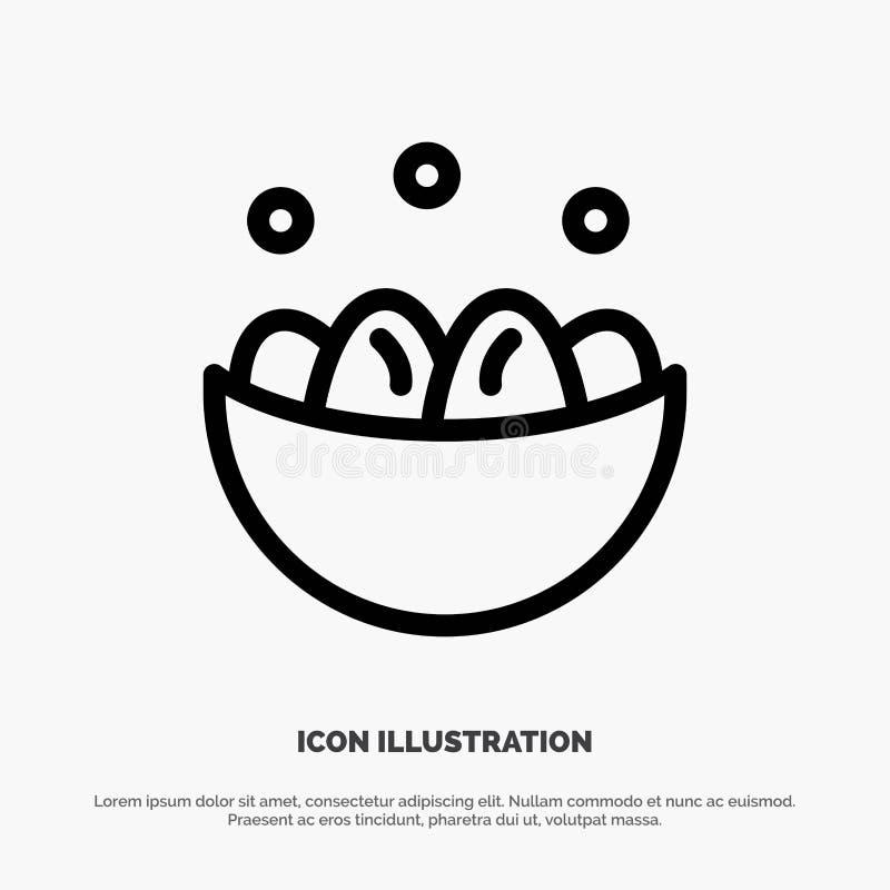 Cuenco, celebración, Pascua, huevo, línea vector de la jerarquía del icono stock de ilustración