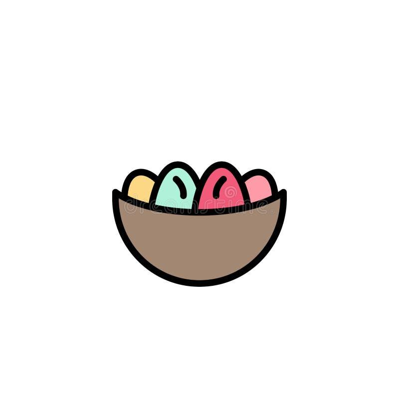 Cuenco, celebración, Pascua, huevo, negocio Logo Template de la jerarquía color plano ilustración del vector