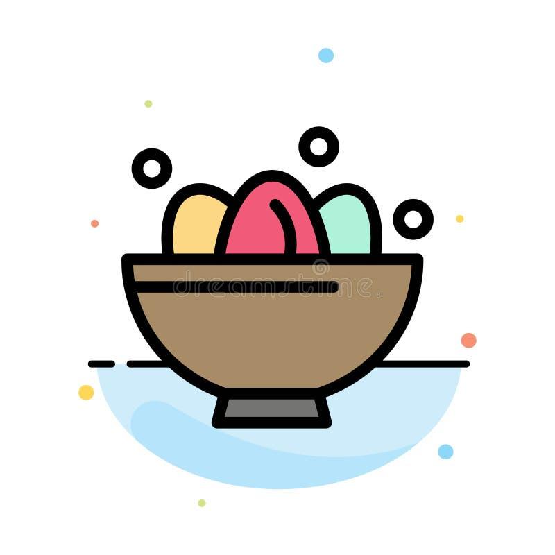 Cuenco, celebración, Pascua, huevo, plantilla plana del icono del color del extracto de la jerarquía libre illustration