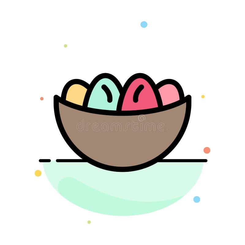 Cuenco, celebración, Pascua, huevo, plantilla plana del icono del color del extracto de la jerarquía ilustración del vector