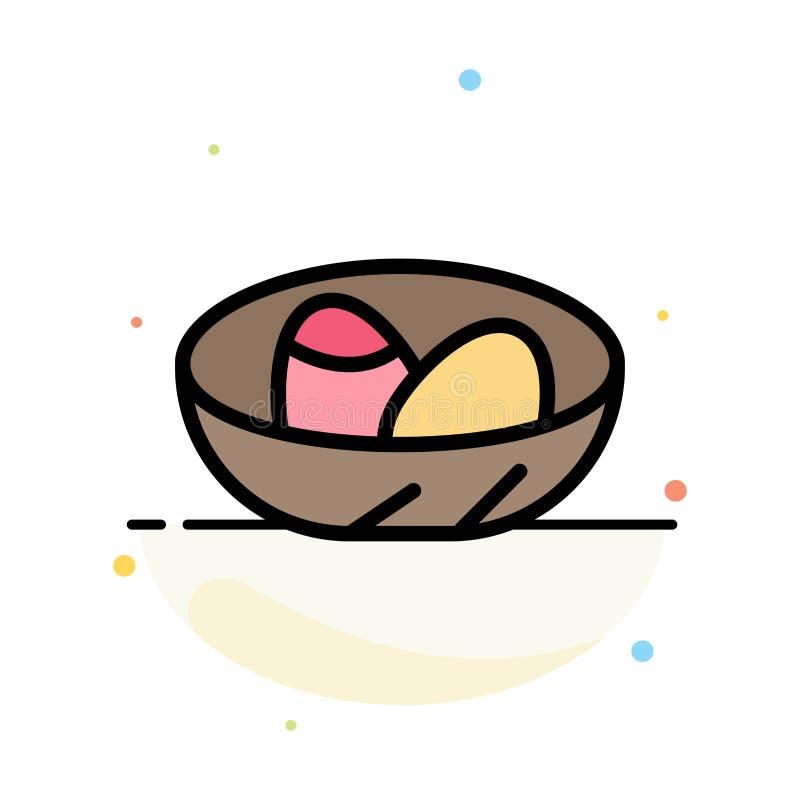 Cuenco, celebración, Pascua, huevo, plantilla plana del icono del color del extracto de la jerarquía stock de ilustración