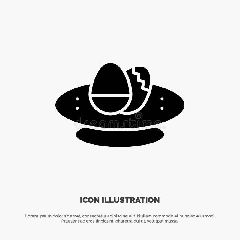 Cuenco, celebración, Pascua, huevo, vector sólido del icono del Glyph de la jerarquía ilustración del vector