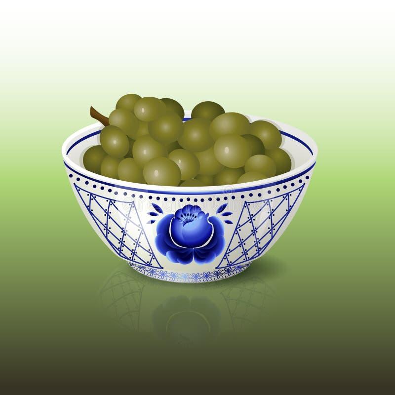 Cuenco con el ornamento floral y las uvas azules stock de ilustración