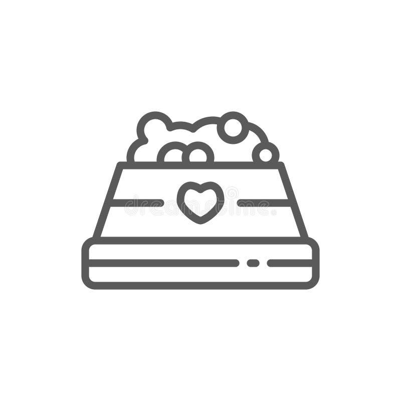 Cuenco con la línea icono del alimento para animales stock de ilustración