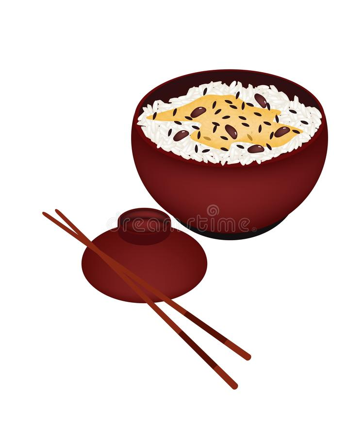 Cuenco de arroz hervido con las habas rojas libre illustration