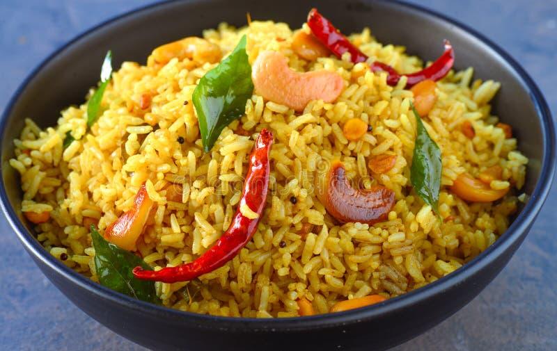 Cuenco de arroz indio - arroz picante del masala foto de archivo libre de regalías