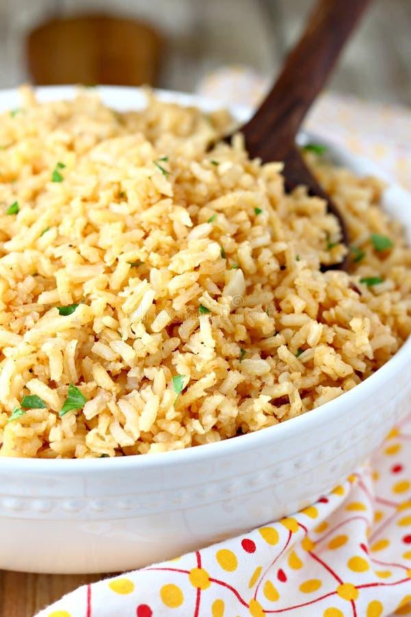 Cuenco de arroz mexicano imagen de archivo