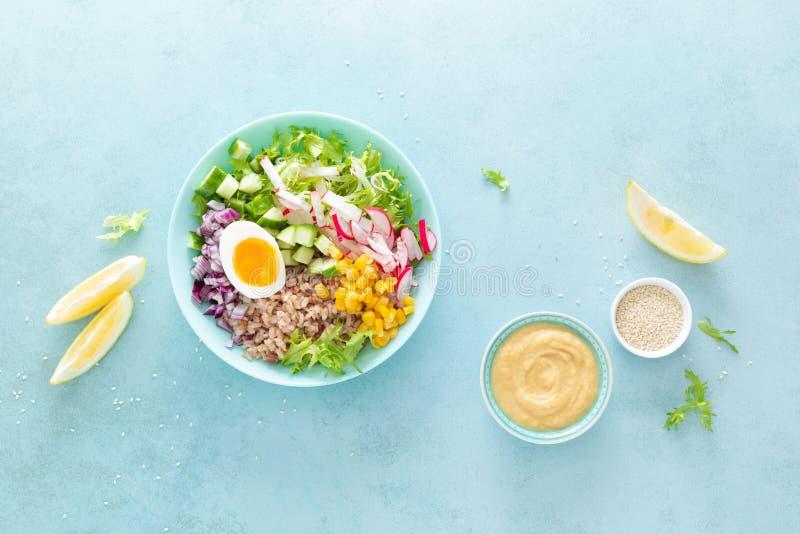 Cuenco de Buda con el huevo hervido, el arroz y la ensalada vegetal de las semillas frescas de la lechuga, del rábano, del pepin foto de archivo libre de regalías