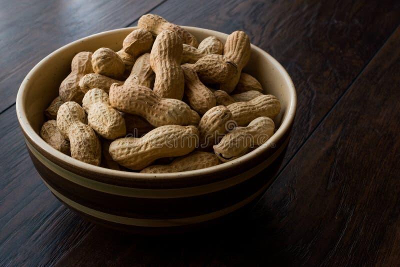 Cuenco de cacahuetes asados salados en seco en Shell fotografía de archivo libre de regalías
