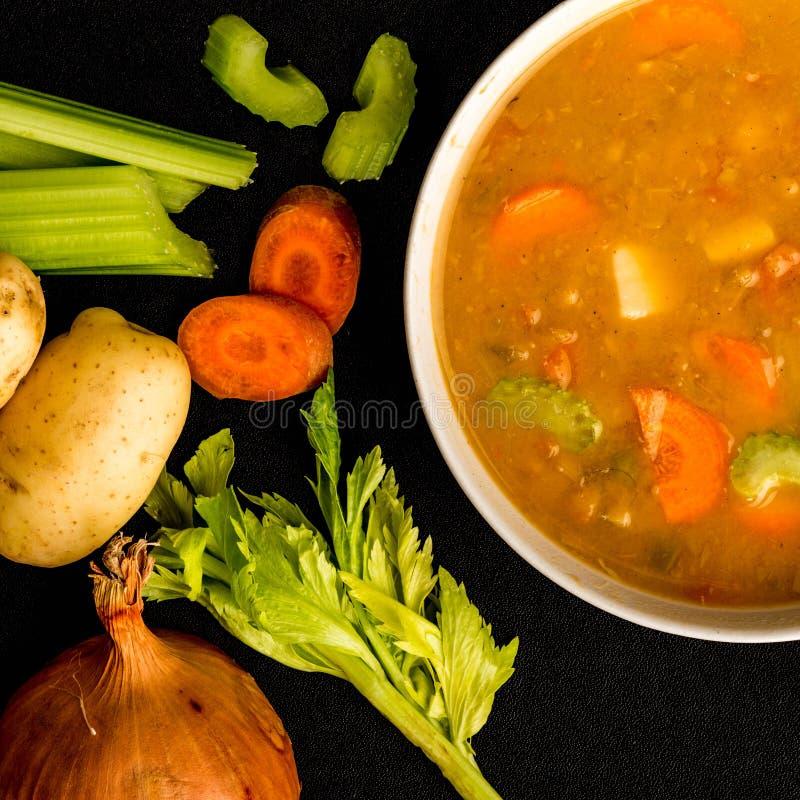 Cuenco de Chunky Vegetable Soup grueso foto de archivo libre de regalías