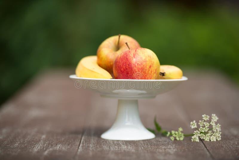 Cuenco de fruta en jardín imagen de archivo libre de regalías