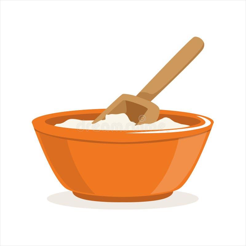 Cuenco de harina con un ejemplo de madera del vector del ingrediente de la hornada de la cucharada ilustración del vector