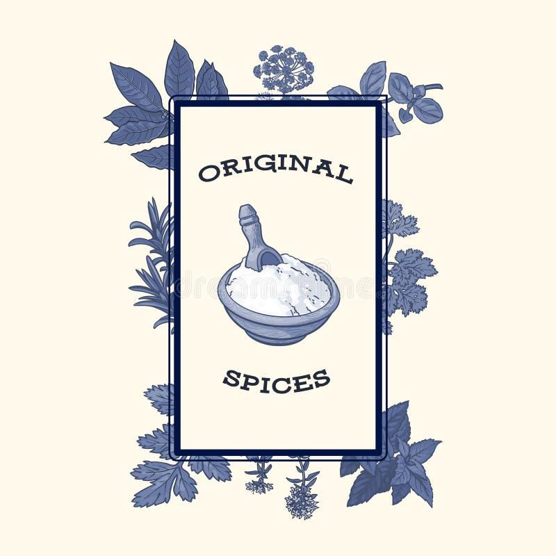 Cuenco de harina enmarcado por las especias y las hierbas, diseño del cartel stock de ilustración