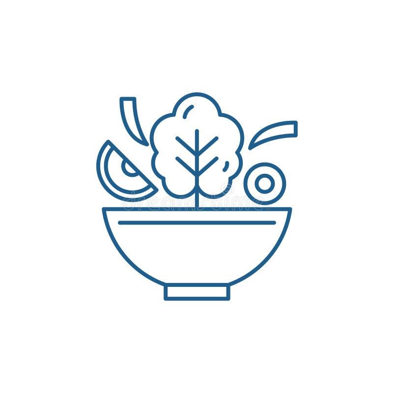 Cuenco de línea concepto de la ensalada del icono Cuenco de símbolo plano del vector de la ensalada, muestra, ejemplo del esquema libre illustration