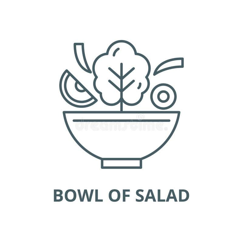 Cuenco de línea icono, concepto linear, muestra del esquema, símbolo del vector de la ensalada stock de ilustración