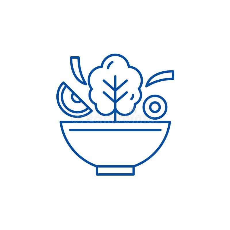 Cuenco de l?nea concepto de la ensalada del icono Cuenco de s?mbolo plano del vector de la ensalada, muestra, ejemplo del esquema ilustración del vector