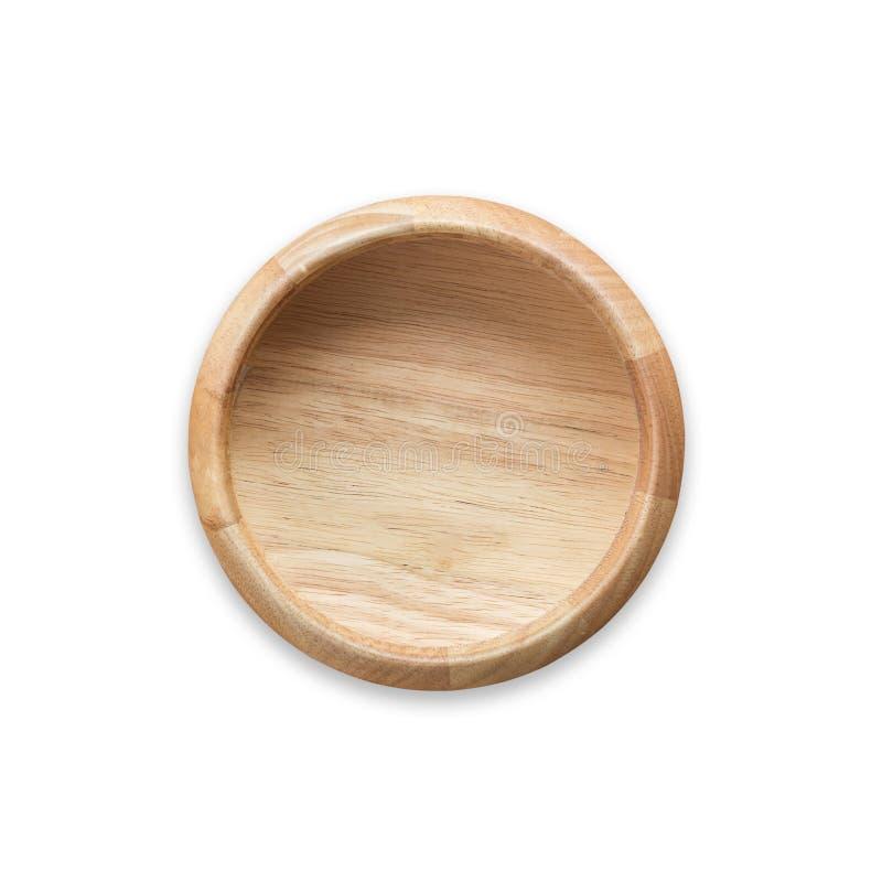 Cuenco de madera vacío brillante de la visión superior aislado en blanco Ahorrado con fotografía de archivo