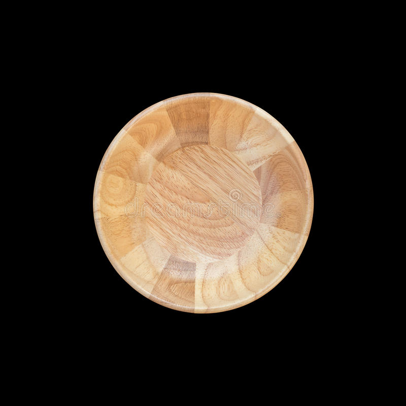 Cuenco de madera vacío brillante de la visión superior aislado en blanco Ahorrado con imagen de archivo