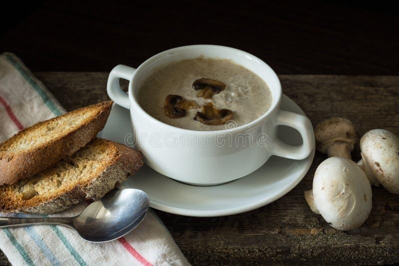 Cuenco de puré de la sopa de champiñones con algunas setas imágenes de archivo libres de regalías