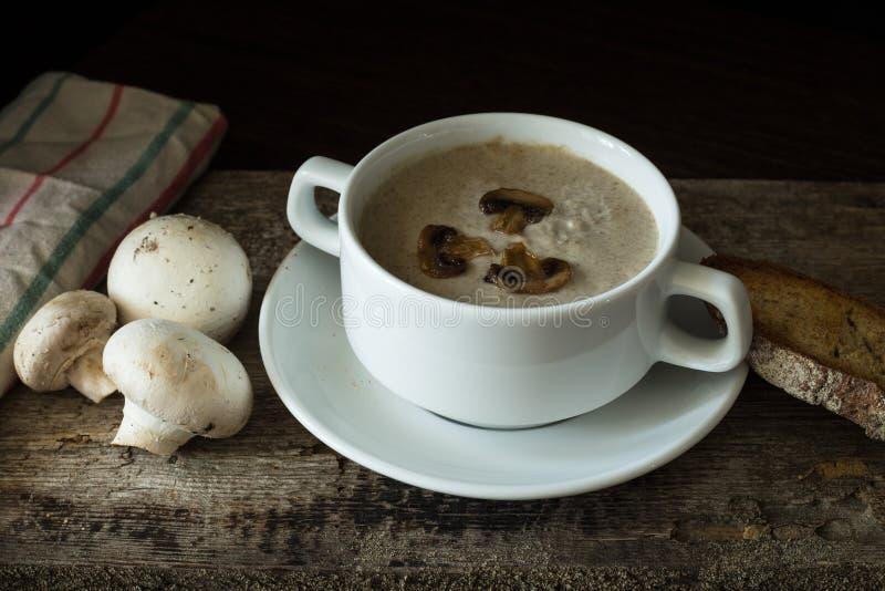 Cuenco de puré de la sopa de champiñones con algunas setas imagen de archivo