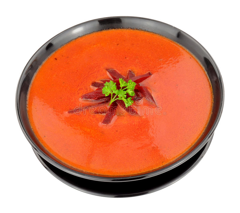 Cuenco de sopa de remolachas fresca imágenes de archivo libres de regalías