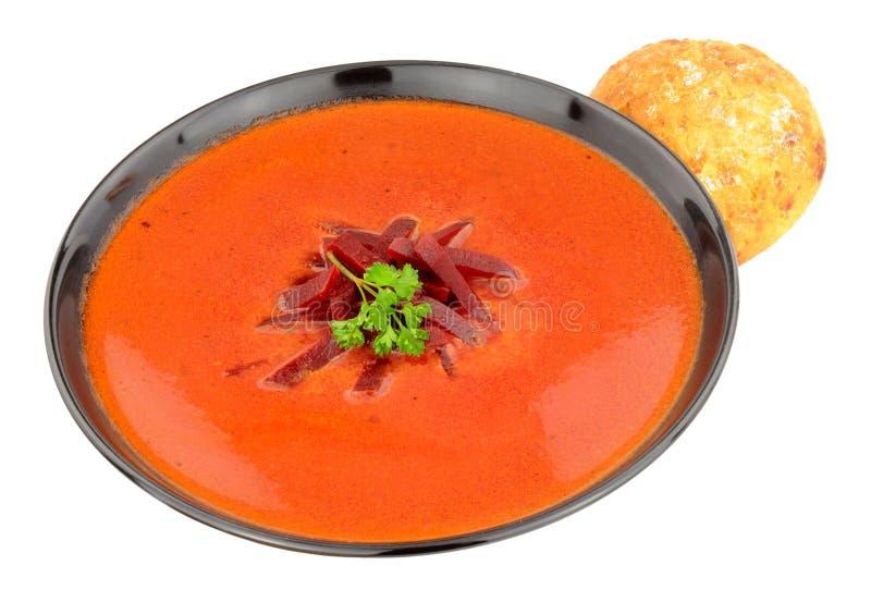 Cuenco de sopa de remolachas fresca fotografía de archivo