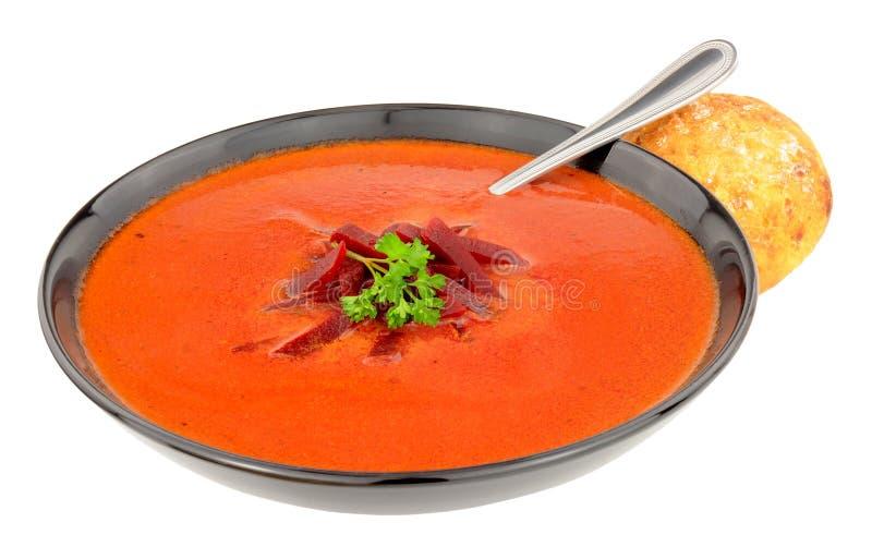 Cuenco de sopa de remolachas fresca foto de archivo