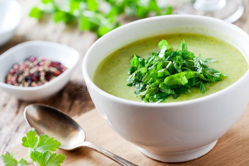 Cuenco de sopa del bróculi y de la menta fotos de archivo