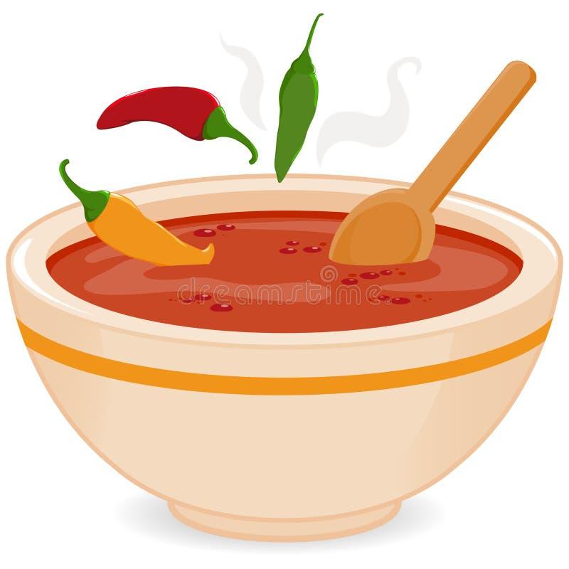 Cuenco de sopa del chile picante ilustración del vector