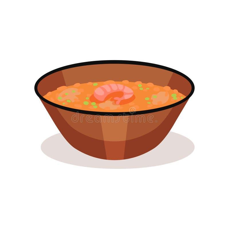 Cuenco de sopa del curry con el camarón Plato asiático delicioso Tema del alimento Elemento plano del vector para el cartel o la  ilustración del vector