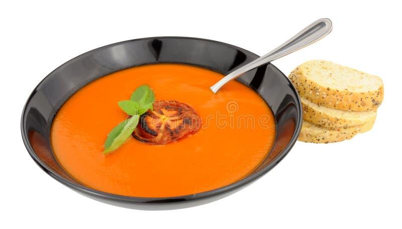 Cuenco de sopa del tomate foto de archivo