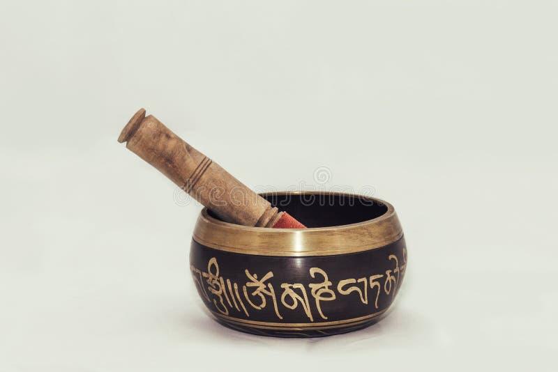 Cuenco del canto, cuenco de la meditación, Buda imagen de archivo libre de regalías