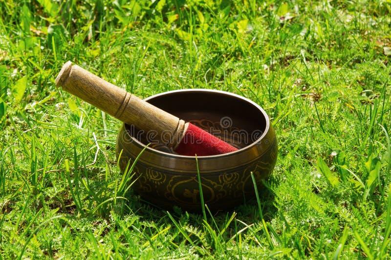 Cuenco del canto de Tibetian con el palillo de madera fotos de archivo libres de regalías