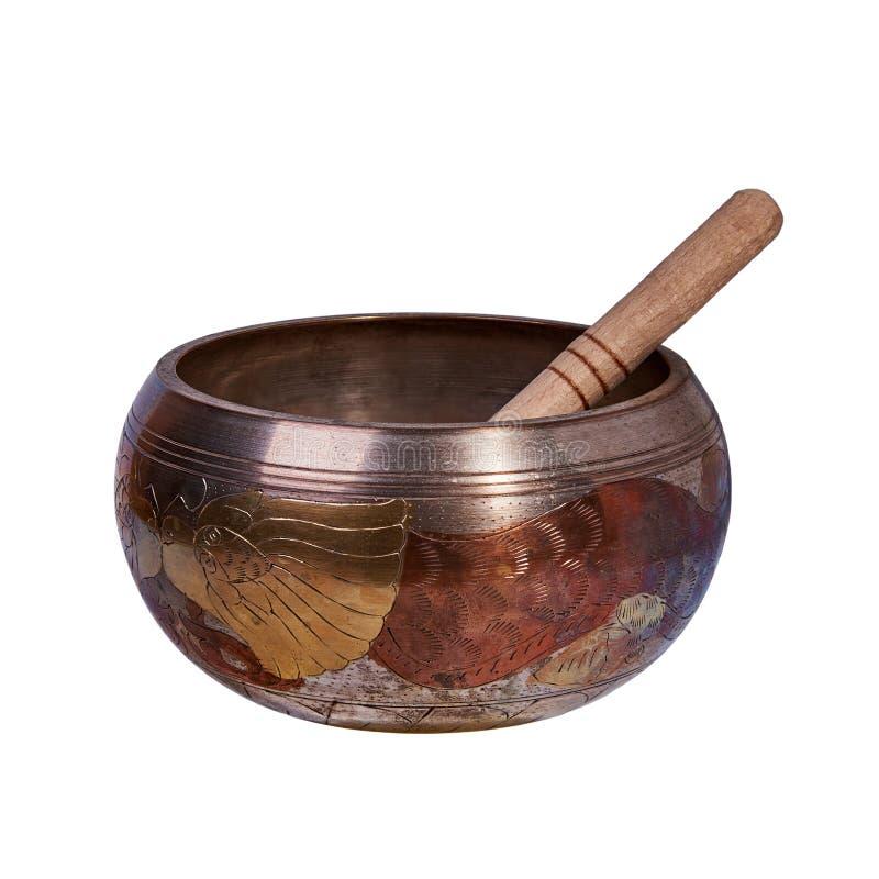 Cuenco del canto también conocido como el cuenco Himalayan, cuenco tibetano foto de archivo