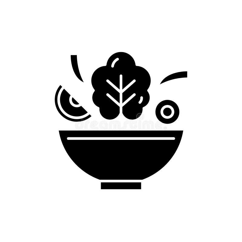 Cuenco del icono negro de la ensalada, muestra del vector en fondo aislado Cuenco de símbolo del concepto de la ensalada, ejemplo stock de ilustración