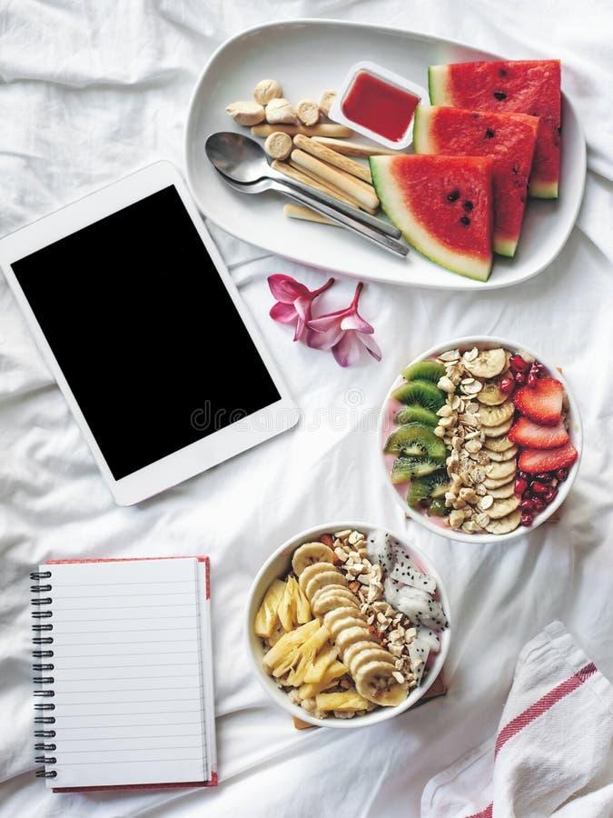 Cuenco del Smoothie con las frutas frescas imagen de archivo libre de regalías