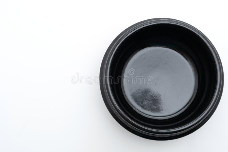 cuenco negro de la sopa vacía (pote de arcilla) en estilo coreano fotografía de archivo libre de regalías